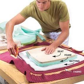 Photo 1: Cut the foam, batting and fabric