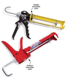 Frame- and cradle-style caulking guns