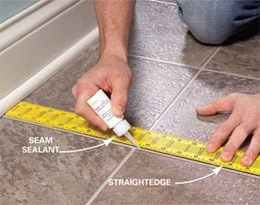 Repair and reglue sheet vinyl floors family handyman for How to seal vinyl flooring seams