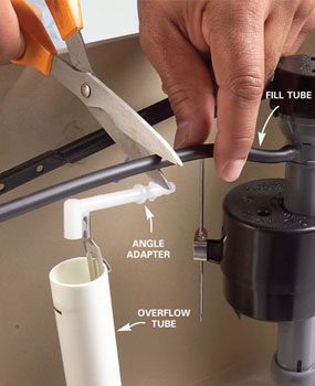 Photo 7: Cut the fill tube to fit the angle adapter