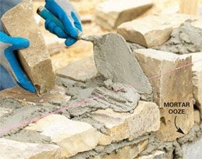 Photo 10: Set each stone in a 1-in. bed of mortar