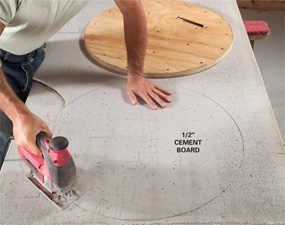 Photo 10: Cut the cement board disc
