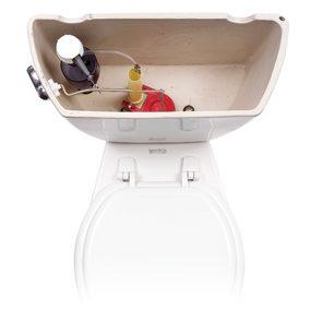 Inside a gravity flush toilet