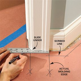 Photo 6: Mark the door jambs and moldings carefully