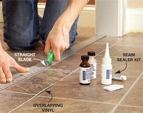 Photo 2: Align the straightedge with the grout line