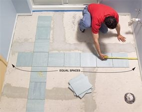 Photo 9 Test Your Layout To Avoid Small Pieces Along The Walls Dry Lay Tile