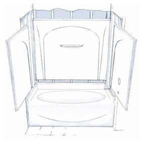 Acrylic Tub Shower Units. Figure A  Four piece tub shower How to Install a Bathtub an Acrylic Tub and Surround