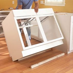 how to build kitchen cabinets in place how to install kitchen cabinets the family handyman 9306