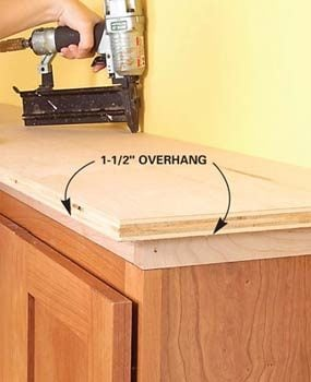 How to add shelves above kitchen cabinets family handyman for Add drawers to kitchen cabinets