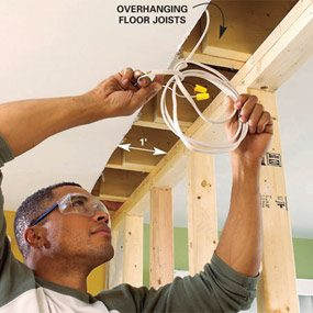 Remove existing wires and relocate them after you've installed the load bearing beam.