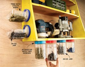 Mount plastic jars under shelves
