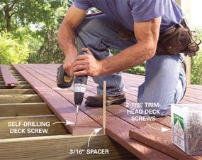 Photo 6: Lay decking straight