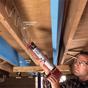 Apply ample construction adhesive to the existing joist