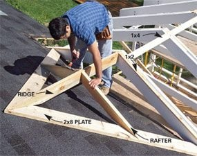 Photo 10: Install the ridge and rafters