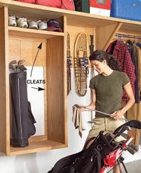 Golf club shelf