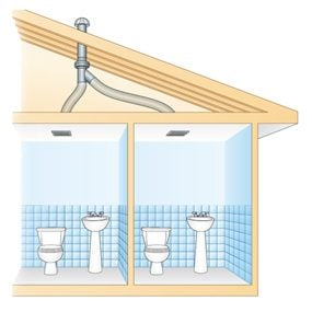 Use an In-Line Fan to Vent Two Bathrooms