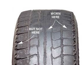 Check tire tread for uneven wear