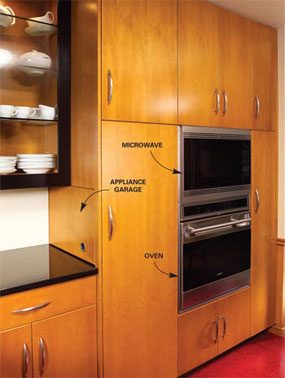 '50s style custom cabinets with built-in microwave and oven