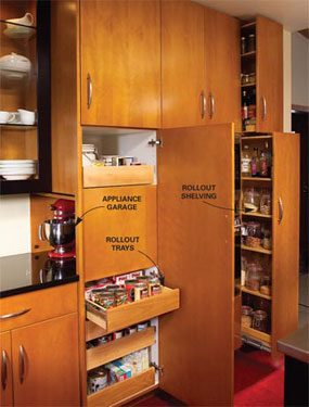 '50s style cabinets with roll-out trays and appliance garage