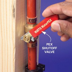 Crimp PEX shutoff valves into the hot and cold lines.