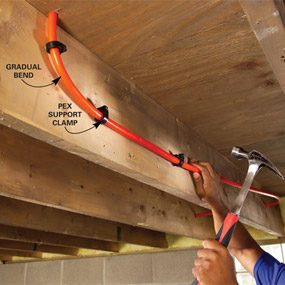 Support PEX every 24 in. and at turns with special clamps.
