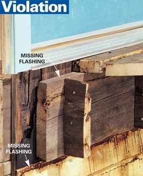 Violation: No flashing, deck joists rotting