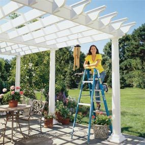How to shade your deck or patio with a diy awning the family handyman pergola solutioingenieria Image collections