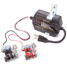 For car battery care during the off-season, use a battery maintainer.