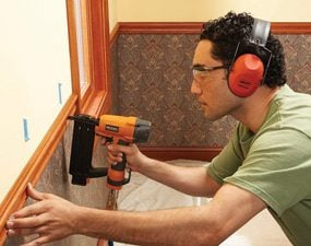 Air nailer for installing chair rail