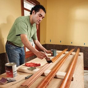For better results, stain and finish the chair rail before installing.