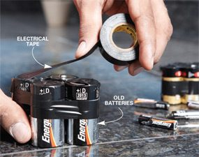 Taping old batteries