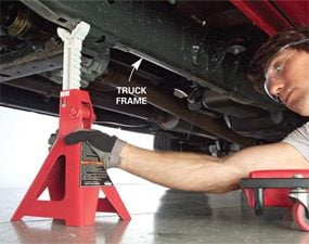 Place the jack stand directly under the truck's frame.