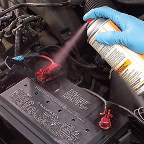 Apply a light coat of battery terminal protective spray.