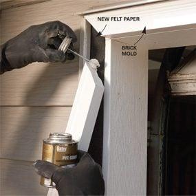 Photo 3: Glue and nail brick mold