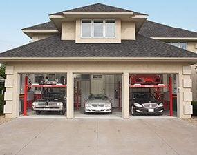 Five cars in a three car garage