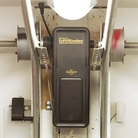 Close-up of garage door opener motor
