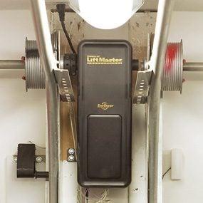 Close-up of garage door opener motor