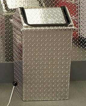 Diamond-plate waste container