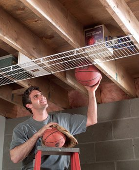 Use ceiling joist space for storage