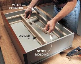Install dentil molding