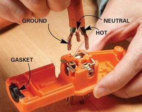 extension cord repair the family handyman rh familyhandyman com wiring a 220 plug end wiring a plug and switch