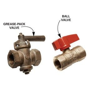 a grease-pack valve and a ball valve
