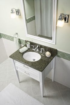 Bathroom with granite vanity top