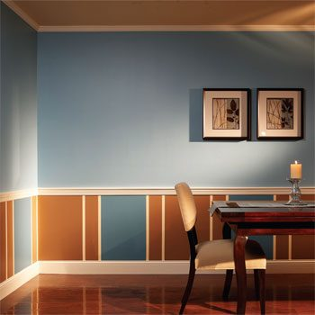 Dining room with chair rail and two paint colors
