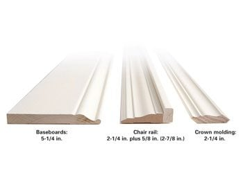 Base trim, chair rail and crown size comparison