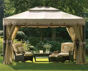 Screened canopy on lawn