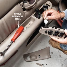 Car window repair: remove the switch panel