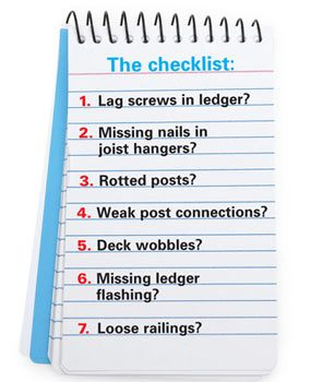 Deck problem checklist