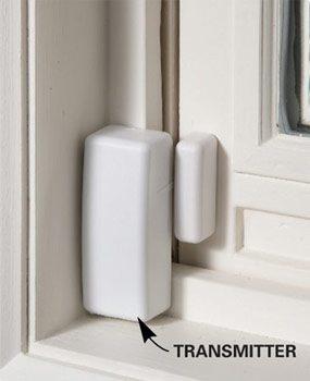 Wireless transmitter mounted on window