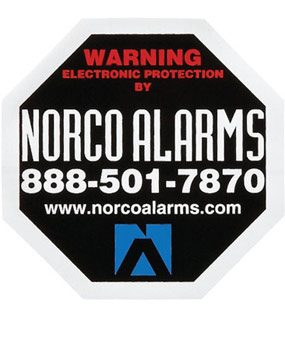Alarm warning sticker on window